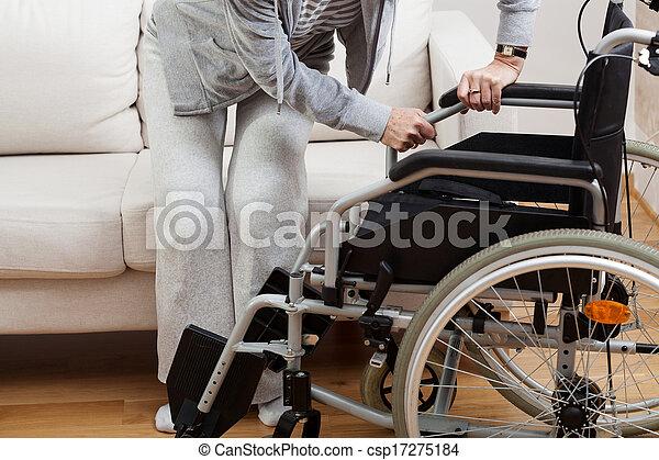 bas, fauteuil roulant, séance - csp17275184