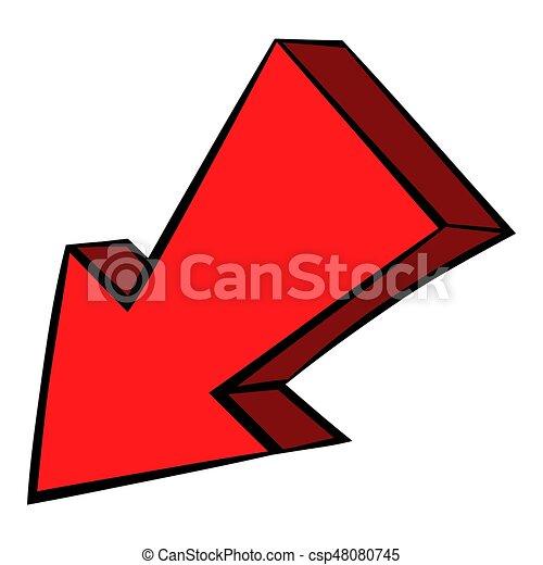 Dessin De Fleche bas flèche, icône, icône, dessin animé, rouges, gauche. style, isolé