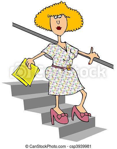 bas, marche, femme, escalier - csp3939981