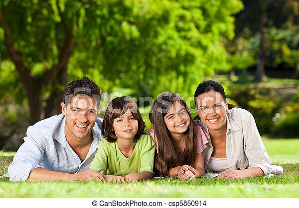 bas, parc, mensonge, famille - csp5850914