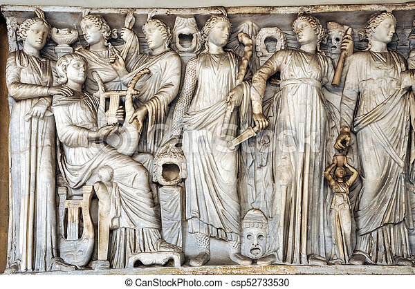Bas-relief and sculpture details in stone of Roman Gods and Emperors - csp52733530