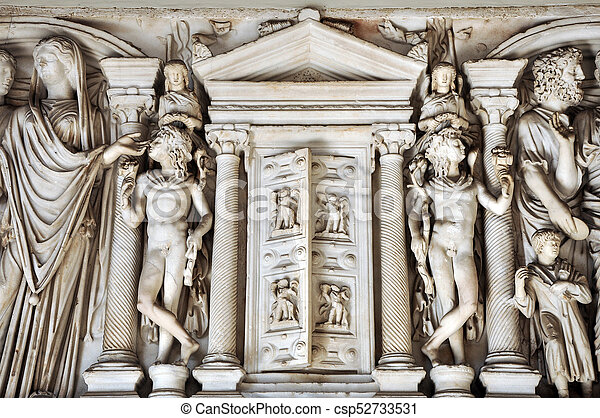 Bas-relief and sculpture details in stone of Roman Gods and Emperors - csp52733531