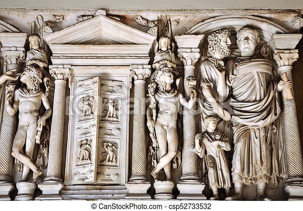 Bas-relief and sculpture details in stone of Roman Gods and Emperors - csp52733532
