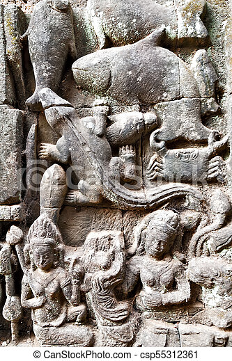 Khmer warriors carved in stone bayon temple angkor thom