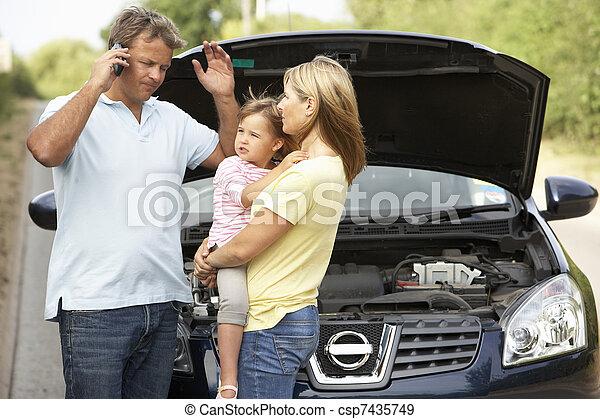 bas, route pays, famille, cassé - csp7435749