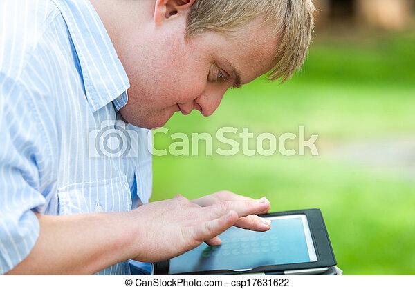 bas, tablet., gosse, syndrome, jouer - csp17631622