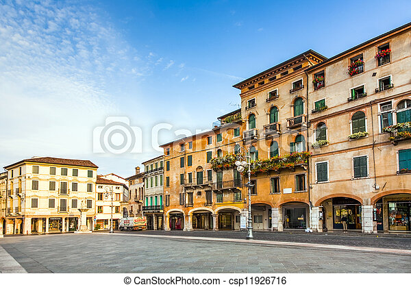 BASANO, ITALY - AUGUST 3: empty market place on August 3,2009 in Basano, Italy. Basano ist the place in the world for Grappa and offered in a lot of shops to tourists. - csp11926716
