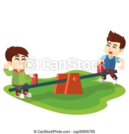Bascule, parc, enfants jouer.