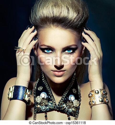 bascule, style, mode, coiffure, portrait., modèle, girl - csp15361118