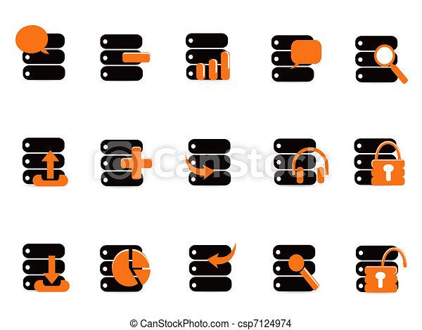 iconos de base de datos negros - csp7124974
