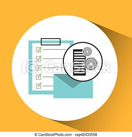 base données, liste, email, monture, courrier, chèque - csp42433556