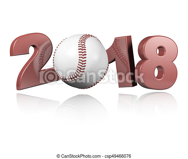Baseball 2018 Design with a white Background - csp49466076