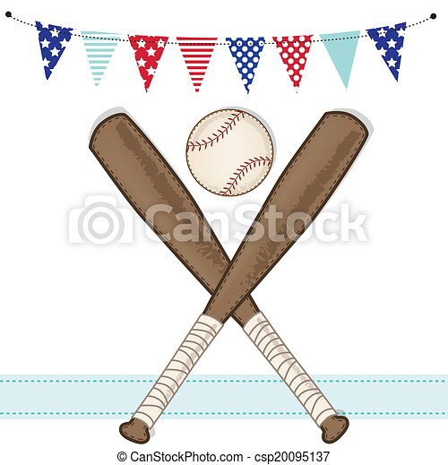 a673519b9bbf Baseball and bat with american patriotic banners and frame - csp20095137