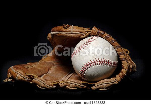 Baseball and Glove on black - csp11325833