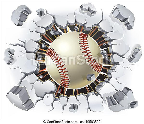 Baseball and Old Plaster wall. - csp19583539