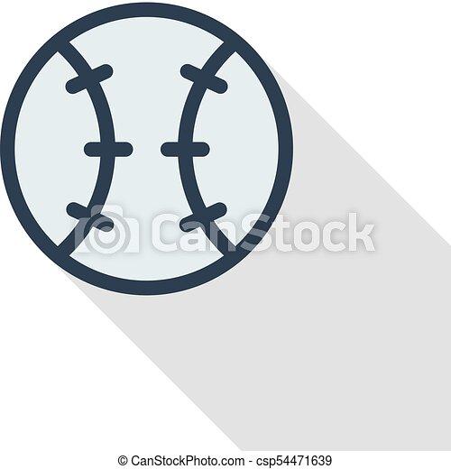 7526f6379deb4 baseball ball thin line flat color icon. Linear vector symbol. Colorful  long shadow design