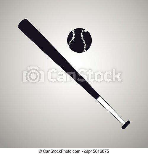 Baseball Bat And Ball Black And White Vector Illustration Eps 10