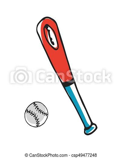 baseball bat and ball hand drawn icon isolated on white eps rh canstockphoto co uk Baseball Bat Clip Art Vector Baseball Bat Clip Art