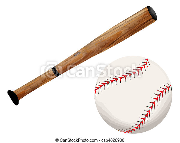Baseball bat and ball - csp4826900