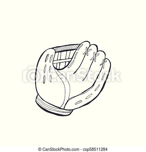 716b7a4b813 Baseball bat sketch isolated. Hand drawn baseball glove sketch ...
