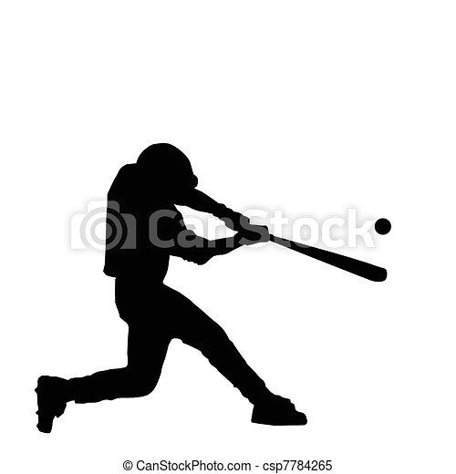 baseball batter hitting ball with bat for home run rh canstockphoto com Baseball Batter Drawing Baseball Pitcher Clip Art