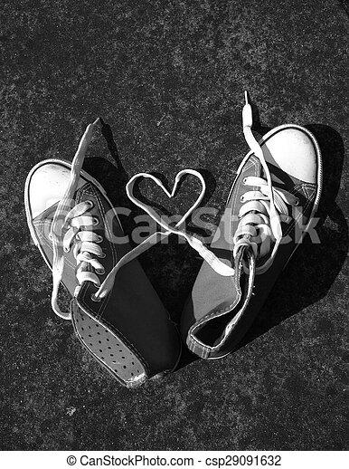 baseball boots sneakers love heart - csp29091632