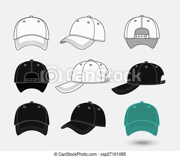 Baseball cap. Back, front and side view - csp27161085