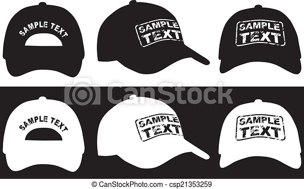Baseball cap, front, back and side view. Vector - csp21353259