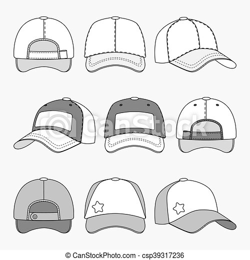 d55a6765 Baseball cap front back and side view outline vector template - csp39317236