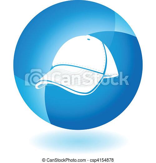 Baseball cap Transparent Blue Icon - csp4154878