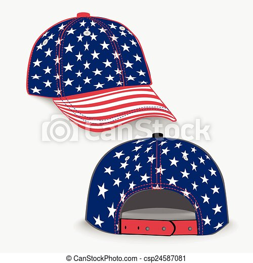 Baseball cap with USA flag - csp24587081