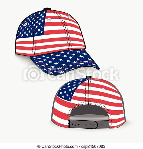 baseball cap with usa flag realistic baseball cap with vector rh canstockphoto com free clipart us flag black and white American Flag Clip Art