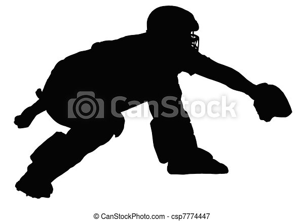 Baseball Catcher Awaiting Delivery - csp7774447