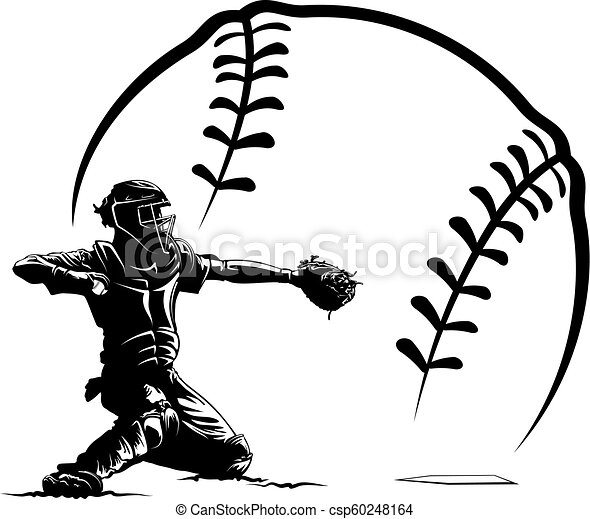 Baseball Catcher Silhouette In Ball Highlighted Silhouette Of A