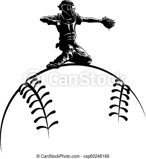 Baseball Catcher Silhouette Over Ball Highlighted Silhouette Of A