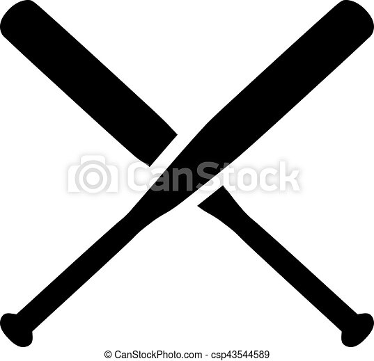 baseball crossed bats rh canstockphoto com crossed baseball bats clipart black and white crossed baseball bats clipart black and white