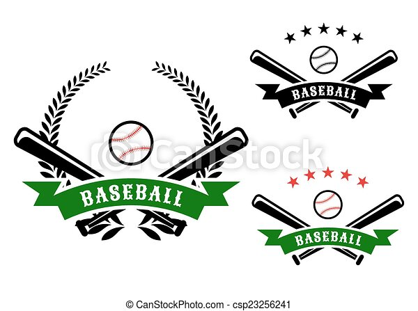 Baseball emblems with crossed bats - csp23256241