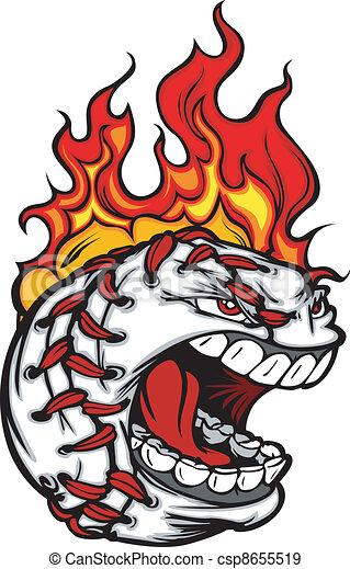 baseball face with flaming hair vec flaming baseball ball face