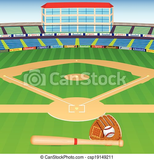 vector illustration of baseball field with bat ball and vector rh canstockphoto co uk baseball field clipart black and white Baseball Field Clip Art Black and White
