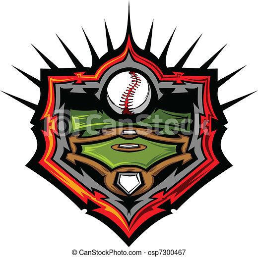 Baseball Field with Baseball Vector - csp7300467
