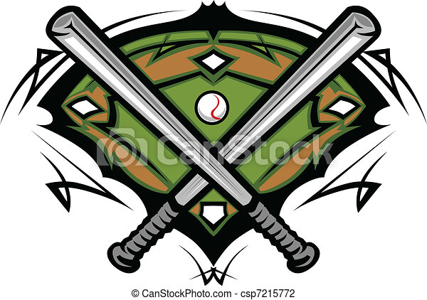 Baseball Field with Crossed Bats - csp7215772