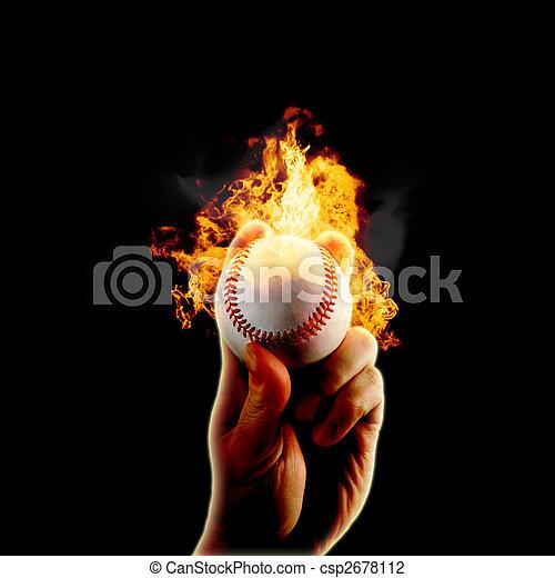 baseball flames fire hand - csp2678112