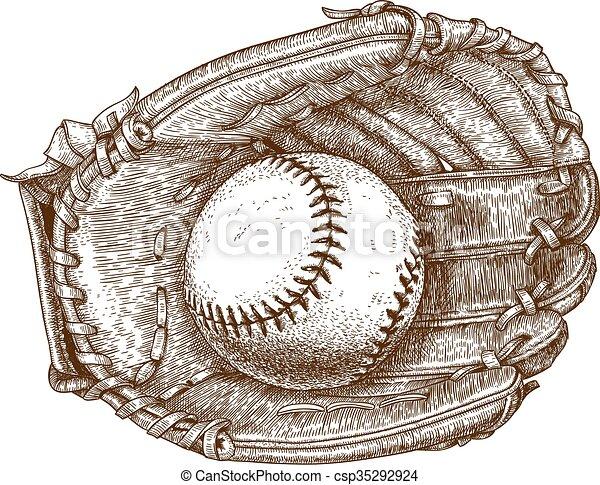 baseball glove and ball - csp35292924