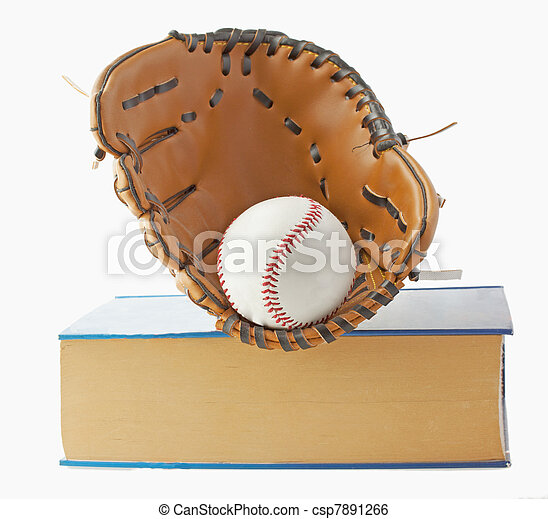 Baseball, glove and book - csp7891266