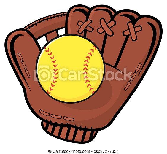 Baseball Glove And Yellow Softball - csp37277354