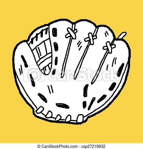 baseball glove doodle - csp27218932