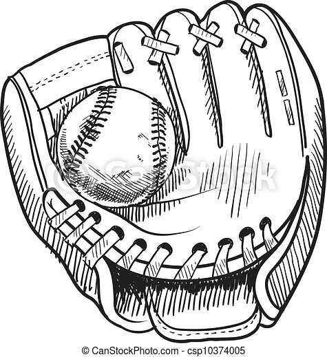 Baseball glove sketch - csp10374005