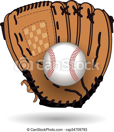 Baseball glove with ball - csp34709793