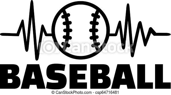 Baseball heartbeat line - csp64716481