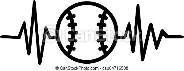 Baseball heartbeat pulse - csp64716508